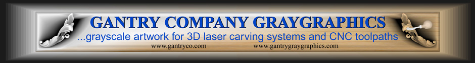 Gantry Company GrayScale artwork for laser engraving systems and CNC toolpaths